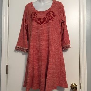 Skies are blue red boho anthropology dress / NWOT